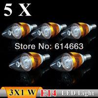 5PCS  E14 3w white / warm white Sharp bubble LED Bulb Light Candle Light Energy saving AC85-265V   Free Shipping