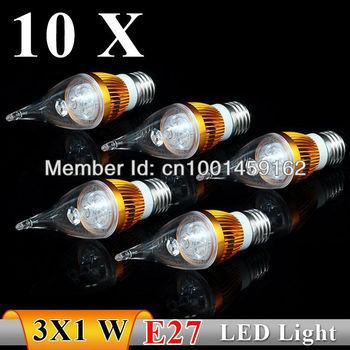 10PCS  E27 3w AC85-265V High strength  power white / warm white  Pull tail LED Bulb Light Candle Light    Free Shipping