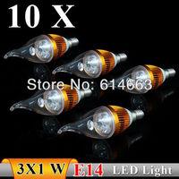 10PCS  E14 3w white / warm white Pull tail  LED Bulb Light Candle Light Energy saving AC85-265V   Free Shipping