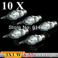 10PCS  E27 3w white / warm white  Pull tail LED Bulb Light Candle Light Energy saving AC85-265V   Free Shipping