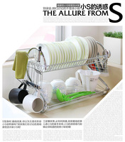 Shelf double layer dripping bowl rack drain rack glove storage rack dish rack