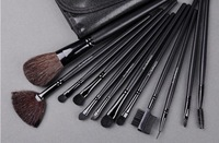 12pcs Professional Cosmetic Make Up  Brush Blush Eyeshadow Set Kit with Black Leather Case Free Shipping