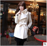 2013 Fashion White Wool Coat Women With Long Belt Jackets For Woman Overcoat Outerwear Female Free Shipping
