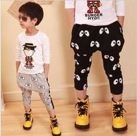 5 pcs/lot 2013 Free shipping  size90-130 autumn hot-selling big eyes print harem pants kid clothing wholesale YY1088