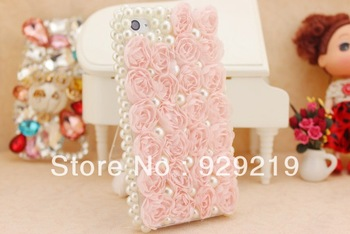 Romantic Pink Flower with Pearl  Bling Rhinestone Crystal Hard Cover Phone Case,Free shipping