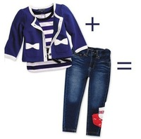 New baby Girls autumn outfits Toddler navy blue coat stripe shirt and jeans pant 3pcs sets