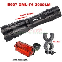 Bike Bicycle Ultrafire e007 12W  Zoomable CREE XM-L T6 1800 Lumens LED Flashlight Torch + 5 led Warning Rear+ Mount Holder