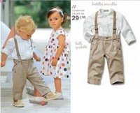 2013 New Arrival kids clothes,Cool boys autumn set (White long sleeve shirt+suspender trousers)Boy's Suit,5Sets/Lot