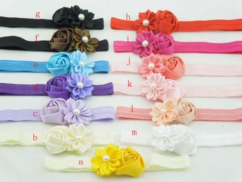 Baby Elastic Flower Headband Multilayer Satin Ribbon Flower Infant Newborn Fabric Flower Headband Girls Hair Accessories 40pcs
