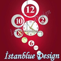 FREE SHIPPING Fashion personality of the mirror wall stickers clock digital dial silent movement Z055