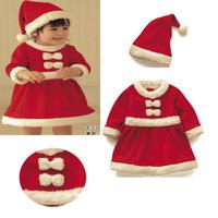1pc/lot Girl kids child christmas long-sleeve dress infant christmas dress with hat