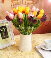 100pcs 35cm PU Real Touch Artificial Simulation Tulip Flower Wedding Bridal Bouquets Decorative Flowers