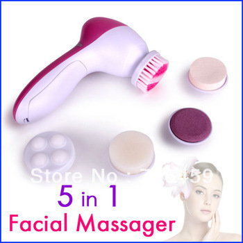 Retail 5 in 1 High Quality Electric Facial Face Pore Cleaner Body Cleaning Massage  Mini Skin Beauty Massager