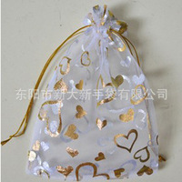 100pcs/lot Gift Bags 15x20cm heart gilding Organza Drawstring Bag Jewelry candy large Bags Fit  Wedding&Party Free Shipping