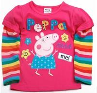 Brand new Free shipping children GIRL peppa pig 100% cotton long sleeved t shirt  top