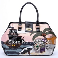 TB 2013 Women Pirate Ship of The Caribbean Pattern Shoulder Bags Rhinestone Handbags Designers Brand Retro Doctor Bag Bolsas