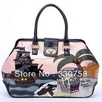TB 2013 Women Pirate Ship of The Caribbean Pattern Shoulder Bags Rhinestone Handbags Designers Brand Retro Doctor Bag Bolsas