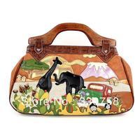 TB New 2013 Women Africa Theme Vintage Wood Handle Handbags Female Fashion Color Block Boutique Bags Bolsas Designers Brand
