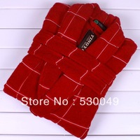 Free Shipping 100% Cotton Square Terry Bathrobe, 3 Colors, Size L, XL, XXL Red Color