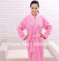 Free shipping 100% cotton loop pile embroidered women's bathrobe, Size: L, XL Color: Pink