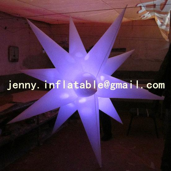 2013 new brand white color wedding inflatator hanging,air star, inflatable stars,LED inflatable star(China (Mainland))