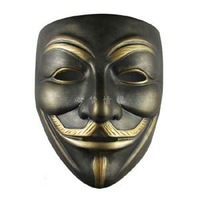 Wholesale Movie V for Vendetta Mask Resin Bronze Party Halloween Masks Free Shipping