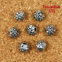 Free shipping 10pcs/lot Tibetan Silver Tone Round Dots Spacer Beads Charms bead 6MM (BJI016)