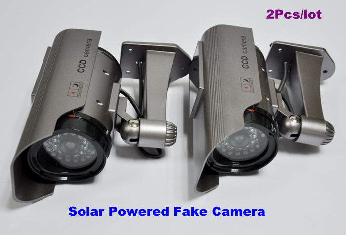 2 Pcs/lot Newest Solar Powered CCTV Security Fake Dummy Camera With All Infrared Lights Lighting At Night Free Shipping(China (Mainland))