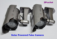 2 Pcs/lot Newest Solar Powered CCTV Security Fake Dummy Camera With All Infrared Lights Lighting At Night Free Shipping