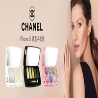 Free Shipping 2013 New Luxury 3D Mirror Eye shadow dressing case mirror Cover for iphone5