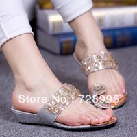 Free shipping, Flat slippers rhinestone beaded wedges women's shoes paillette platform flip slippers flip flops