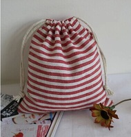 3 different size Handmade Red stripes storage bags Cotton Drawstring shoes bag can be use for Cosmetic Bags