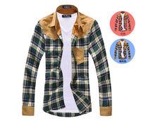 Size M-XXXL,Free Shipping Fashion Men's Spring/Autumn Grid Shirts,Cotton Long Sleeve Mens Shirts F124