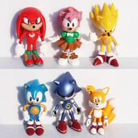 Free shipping 1set 6pcs/set 3inch 7cm SEGA sonic the hedgehog Figures toy pvc