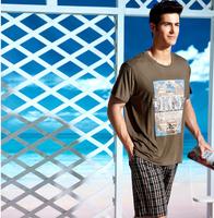 Top Brand Twinset Pijamas 2013 summer men's pajamas short sleeve sleepwear man pajamas for men shorts mens tracksuit set   XXL