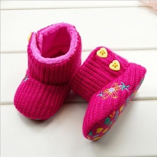 3pairs/Lot Beautiful Star Flower Pattern Yellow Heart Button Design Red Baby Girl Winter Snow Boots Infants Warm Shoes