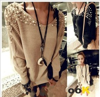 Hot sales Khaki black New Nail Bead Full Batwing Sleeve O-Neck Casual Pullovers Sweater For Women