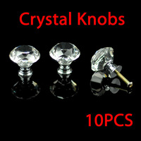 Free Shipping 30mm crystal diamond Handle Cabinet Cupboard Crystal Glass Drawer Door Knobs,5pcs/Bag
