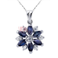 Sterling Silver 925 Estate Natural Midnight Blue Sapphire Pendant Necklace Platinum Plated High Quality Zircon Crystal Necklaces