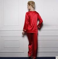 2013 summer silk Pajamas for women elegant noble pijamas sleepwear women's lounge set wine red pijama  womens pyjamas twinset