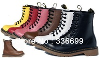 Free shipping+Genuine Leather women mens fashion winter warm snow boots Marten pattern lace up ankle boots shoes