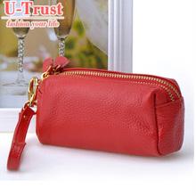 FREE SHIPPING NEW FASHION Genuine leather women's handbag double zipper coin purse women's day clutch mobile phone bag(China (Mainland))