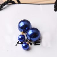 QQ Jewelry 2139 Sided pearl stud earrings