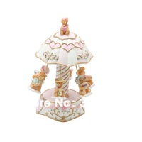 Free Shipping 2014 New Model Laxury 6-bears Carousel Music Box  Musical Gifts, Polyresin Birthday Music Boxes in Polyresin