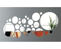Min order 15 usd ( Mix items ) Three-dimensional wall stickers 30 PCS circle  tv wall crystal note the mirror  MIRRR SITCKER