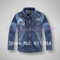 5pcs/lot(2-6Y) Wholesale GU cotton shirts soft denim shirts kids long sleeve shirts for boy soft denim shirt free shipping