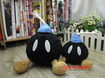 """Wholesale Super Mario Brothers Soft Plush toys Black Bomb BOB-OMB 8"""" Free Shipping 50pcs/lot by EMS"""