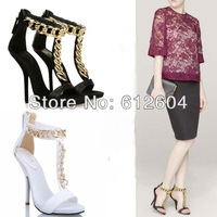 2013 fashion metal gold chain sandals women bronzing sequined high heels T straps buckle dress shoes black white
