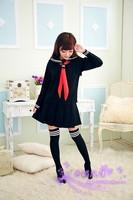 Girls Sailor School Uniform long sleeve Suit blouse and black school skirts S M L XL Size