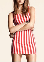 Free shipping Thick white red vertical stripe short paragraph Slim Stretch Printed Sleeveless Dress size  S-XXL